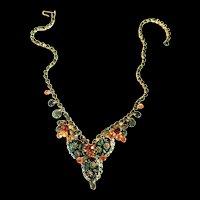 Juliana Etched Art Glass Rhinestone Necklace
