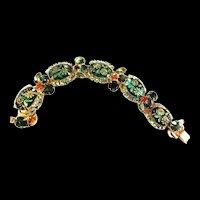 Juliana Etched Art Glass Vintage Bracelet