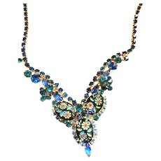 Vintage Juliana Etched Montana Blue Necklace