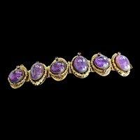 Victorian Style   1940s Huge Art Glass Amethyst must C bracelet
