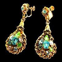 Vintage Barclay Designer  Chandelier Rhinestone Earrings