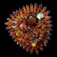 Breathtaking Enormous Juliana Art Glass Brooch