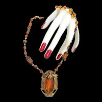 Exquisite Czech Topaz Highly Detailed Pendant Necklace Early 1900s