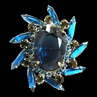 Juliana Montana Blue Vintage Brooch