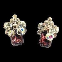 Juliana Crystal  and Amethyst Vintage Earrings