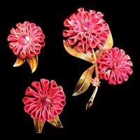 Vintage Coro Fuchsia Pink Brooch and Earrings