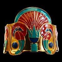 vintage Egyptian Revival Enamel Cuff Bracelet Spectacular Must C