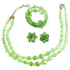 Lime Green Crystal Necklace Bracelet Earrings