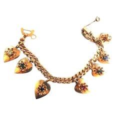Vintage Barclay Hearts on Fire Rhinestone Charm Bracelet