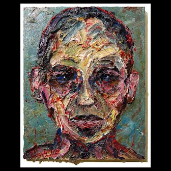 Impressionist portrait of abstract face oil painting on canvas of 20 by 16 by 3/4 in., by: David Padworny