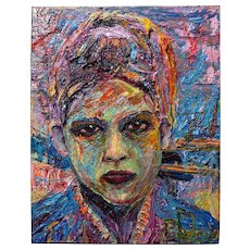 Female portrait, impressionism original oil painting on stretched canvas of 20 by 16 by 3/4 in.