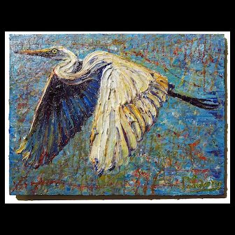 Realism  art   abstract expressionist oil painting of  beautiful  flying bird  wall decor of 18 by 24 by 3/4 in., by: David Padworny