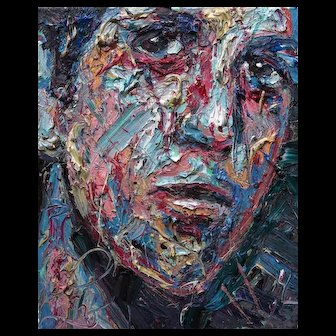 Impasto medium for oil paint of expressionist personal male portrait painting outsider art nyc of 20 by 16 by 3/4 in., by: David Padworny