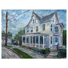 Impressionist Style House, Original Oil Painting of 18 by 24 by 1.5 in.