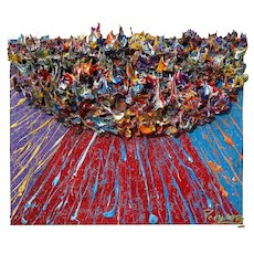 3D Artwork -- Abstract Expressionist Original Oil Painting of 16 by 20 by 3/4 in.