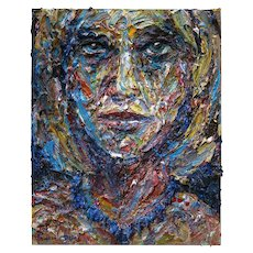 Female Portrait, original oil painting on stretched canvas of 30 by 24 by 3/4 in.