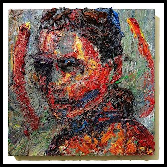 Abstract expressionist of male original face portrait impasto oil painting on canvas artwork of 20 by 20 by 1.5 in., by: David Padworny