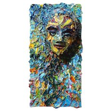 3D Portrait, oil paint over reinforced plaster mounted on canvas of 20 by 10 by c. 7 in.