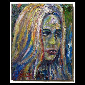 Face impressionist portrait of a lady oil painting modern art of 20 by 16 by 3/4 in., by: David Padworny