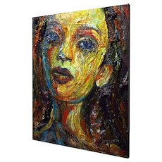 Female Portrait -- Expressionist Realism, Original Oil on Canvas of 20 by 16 by 3/4 in.