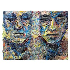 Two face portrait-Art Impressionist - Original oil painting of 18 by 24 by 3/4 in.