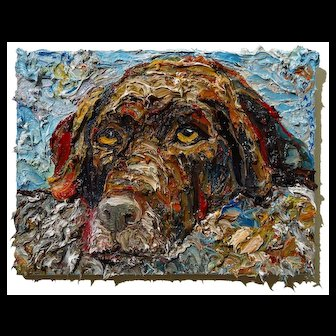 Impressionist art deco of hand painted dog portrait a man's best friend of 16 by 12 by 3/4 in., by: David Padworny
