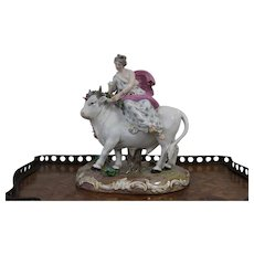 Meissen porcelain of The 19th Century .The Europe sitting on the bull