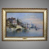 Idyllic Oil Painting Of Lake Garda by Karl Kaufmann (1843-1901)