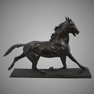 A Large Bronze Sculpture of a Running  Horse By German Artist Hans Hechel