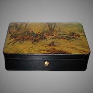 Antique Imperial Russian Lacquered Box Troika 19th Century