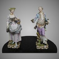 A Pair Of Very Rare Large 19 th Century Meissen Porcelain Figures Tall 49cm