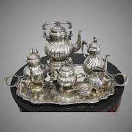 Large Silver 8-Piece Set Tea and Coffee Service Italy Weight 6400g