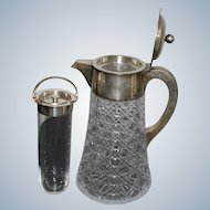 Luxurious Diana Head Silver Hallmark and Cut Crystal Glass  Carafe Vienna from the second half of the 19th century