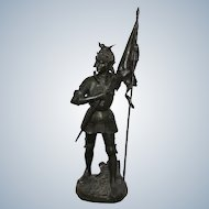 Impressive Bronze Statue of the Knight by Emmanuel Hannaux French 1855-1934 tall 105cm