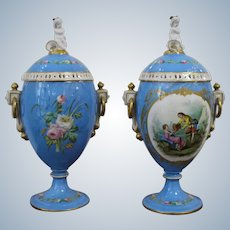 The  Pair  of French Porcelain Vases with Covers Second Half of the 19th Century