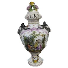 Very Decorative Hand Painted Large Meissen-style Porcelain Covered Urn ,Germany  Plauen  19 th Century 67cm