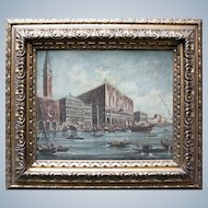 A Beautiful Antique Painting Attribued To BISON Giuseppe Bernardino, 1762-1844 Italy View of San Marco with the Doge's Palace in Venice