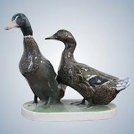Decorative Rosenthal Porcelain Sculpture of Duck and Drake Height 23cm 1920 -1938