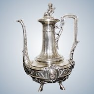 French Silver Cofee Pot Kettle 19 Th Century