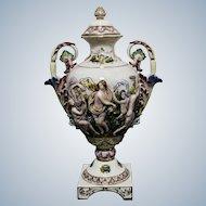 Large Italian Porcelain Rellief Vase  Marked Capodimonte Height 56cm