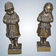 JOSEPH LE GULUCHE  1849 -1915 France  A Pair Signed Bronze Status of Boy and Girl