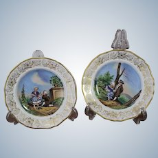 Horní Slavkov Schlagenwald a Pair of Rare Porcelain Plates from  a Significant Czech Porcelain Factory  1840