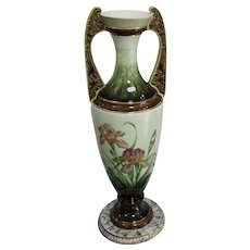 Eichvald Dubí Large Art Nouveau Majolica Amphora from 1905 Height 65cm.