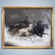Russian Painter  Oil Painting of The Horse Sleighby  Running In a Winter Blizzard