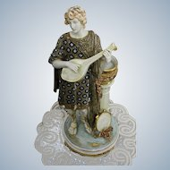 Imperial Amphora Austrian Turn Teplitz Art Nouveau Large and Decorative Lute Player Statue Tall 38cm