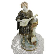 Imperial Amphora Austrian Turn Teplitz Art Nouveau Large and Decorative Lute Player Statue Tall 38cm