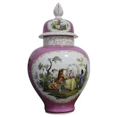 Large Dresden Porcelain Handpainted Baluster Form Vase and Covers Late 19 TH Century Height 65 Cm
