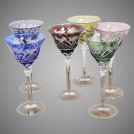 Six Pieces  Of Goblets by Bohemian Art Deco Cut Crystal Glass  from Novy Bor Factory 1920-1935  Height 20cm