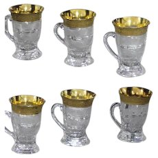 Moser Carlsbad Splendit Six Pieces Punch Glasses Crystal Cut with Golden Relief  From 1925 Height 10cm