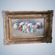 Diblík František Xaver  Czech Painter Floral Still Life With Apples 1887 - 1955